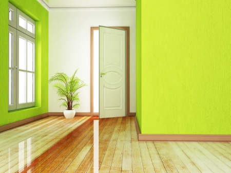 view of a wooden doorway: Interior design scene with an open door and a plant