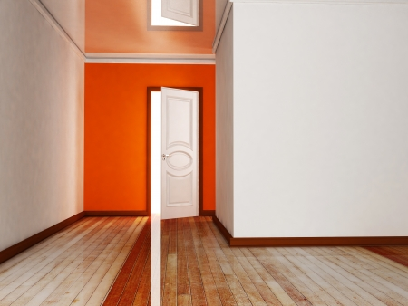 view of a wooden doorway: Interior design scene with an open door