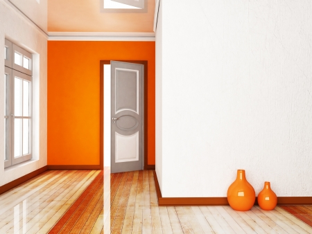 view of a wooden doorway: Interior design scene with an open door and a window, the vases Stock Photo
