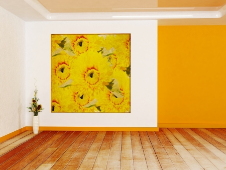 Interior design scene in warm colors with a niche and a vase photo