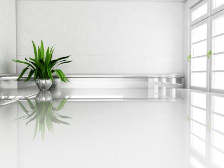 Scenografia degli interni con la pianta e la finestra