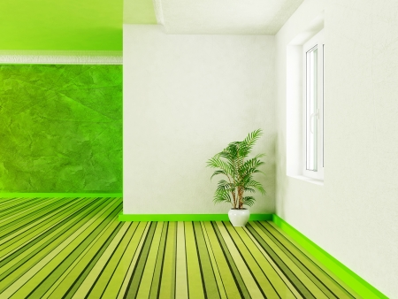 Interior design scene with a plant and a window Stock Photo - 14399251