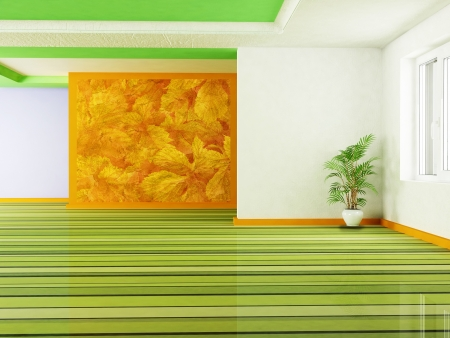 Interior design scene with a plant and a window Stock Photo - 14399250
