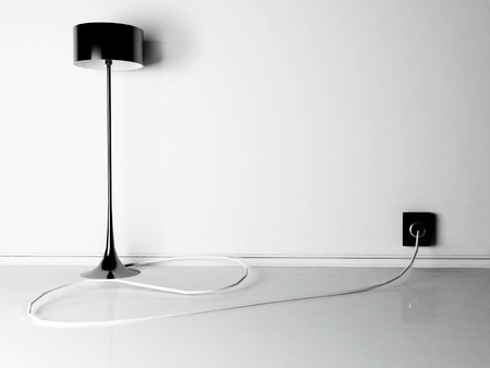 lamp connected to the outlet, rendering photo