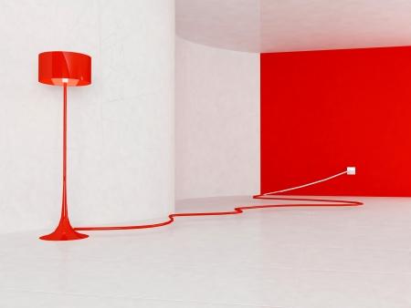 enchufe de luz: Lámpara de pie de color rojo en la habitación vacía