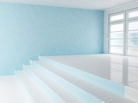 empty interior with a window and a stairs photo