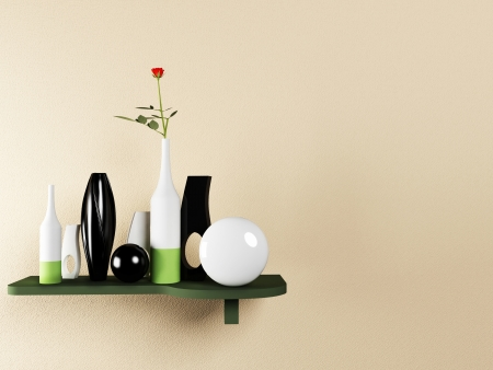 shelf wall: creative shelf on the wall with the vases