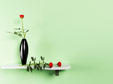 shelf on the wall with the vase and the flowers photo