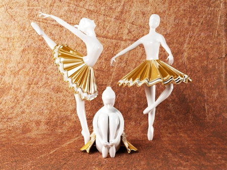 three beautiful statues of ballerinas, rendering Stock Photo - 14399338
