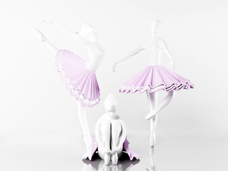 three beautiful statues of ballerinas, rendering photo