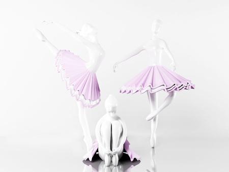 three beautiful statues of ballerinas, rendering Stock Photo - 14397549