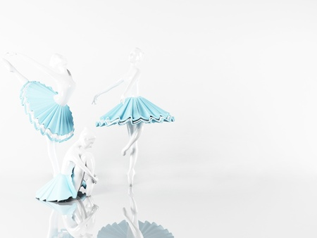 three beautiful statues of ballerinas, rendering Stock Photo - 14397541