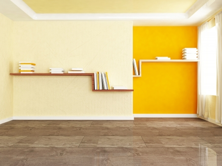 Interior design scene with two bookshelves in the room