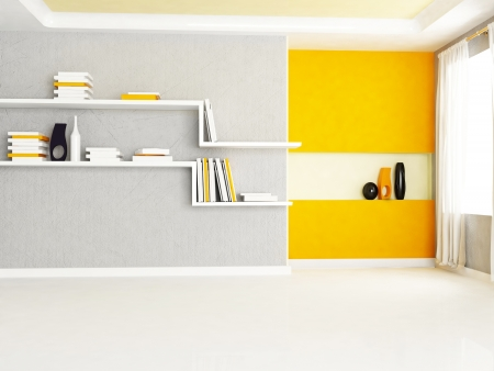 Interior design scene with two bookshelves in the room photo