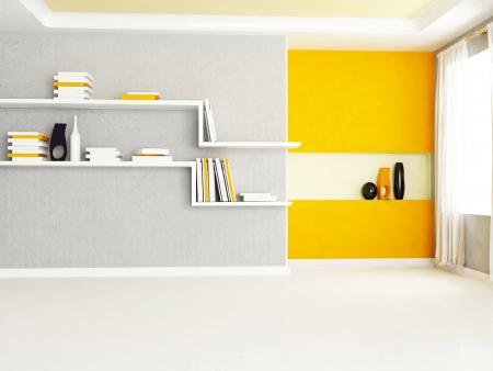 luxury hotel room: Interior design scene with two bookshelves in the room