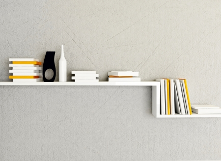 a bookshelf on the wall, rendering photo