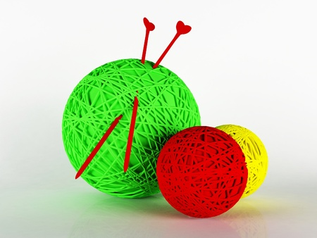 wool fiber: three coil threads for knitting, rendering