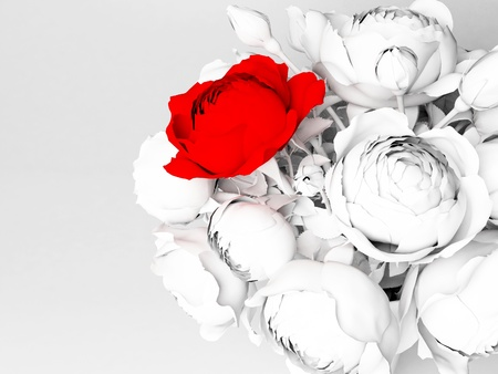 beautiful bouquet with roses on a white background photo
