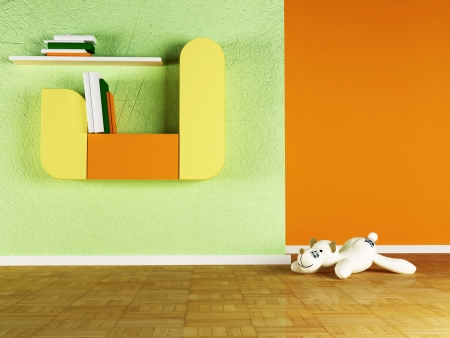 storage compartment: Interior design scene of kids room Stock Photo