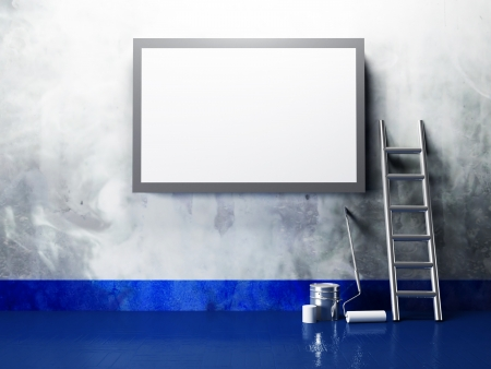 blank advertising billboard on a dirty grunge wall Stock Photo - 14397745