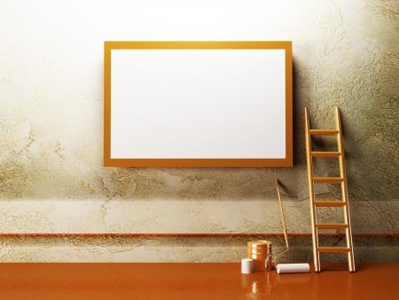blank advertising billboard on the creative wall Stock Photo - 14398126