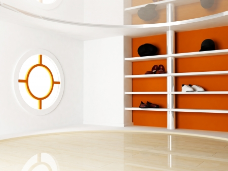 Interior Scene with a window and the shelves for shoes and hats Stock Photo - 14397747
