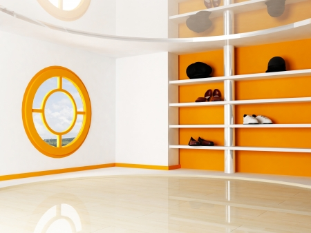 Inter Scene with a window and the shelves for shoes and hats Stock Photo - 14397922
