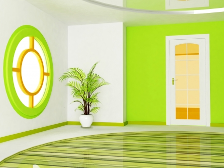 view of a wooden doorway: Interior design scene of living room with a door, a window and a plant