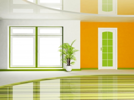 Interior design scene of living room with a door and a plant in the vase photo
