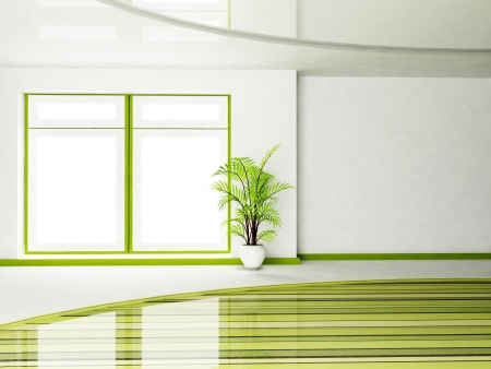 round window: Interior design scene of living room with a window and a plant in the vase Stock Photo