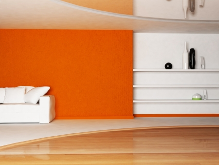 Interior design scene of living room with a sofa and the shelves photo