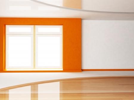 Interior design scene of living room with a big window photo