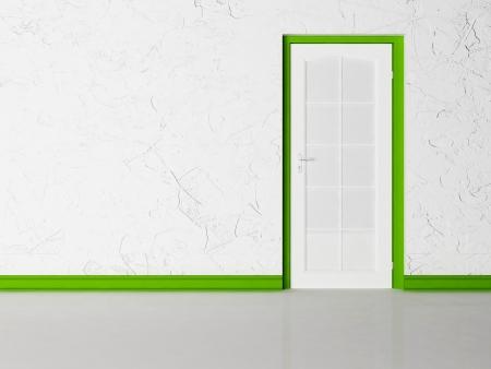 green door: White closed door in the room, rendering