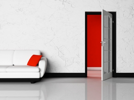 Interior design scene of living room with a door and a sofa photo