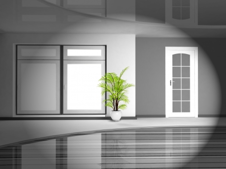 green plant in the monochrome interior, rendering photo
