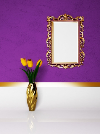 beautiful yellow tulips and the mirror photo