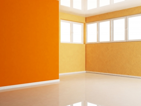 empty room with many windows, rendering photo