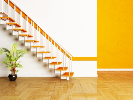 Interior design scene with a plant and a stairs in the room