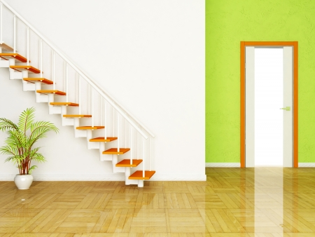 Interior design scene with a plant and the stairs, the door Stock Photo