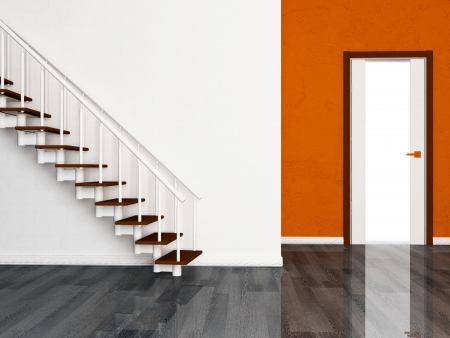 wooden stairs: Interior design scene with a door and a stairs