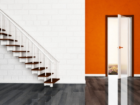 stairs interior: Interior design scene with a door and a stairs