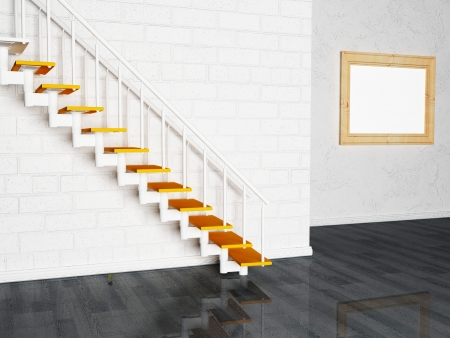 Interior design scene with a picture and a stairs photo