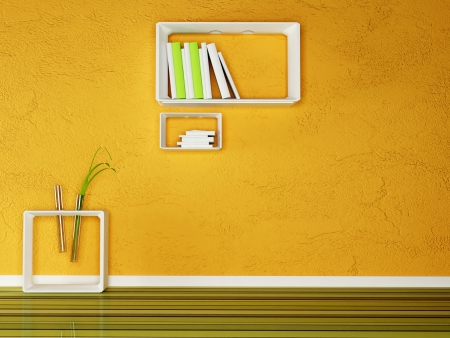 creative shelf and a table with the books and the plant