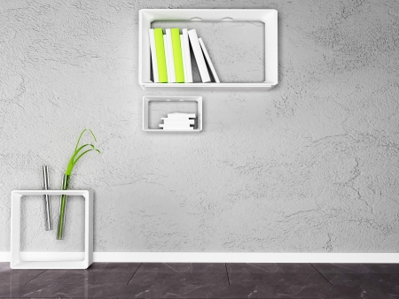 creative shelf and a table with the books and the plant photo