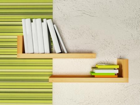 creative bookshelf  on the wall, rendering Stock Photo - 14679211