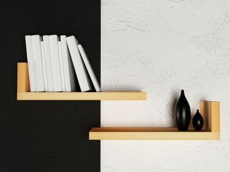creative bookshelf  on the wall, rendering photo