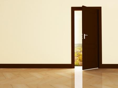 Interior design scene with an open door  photo