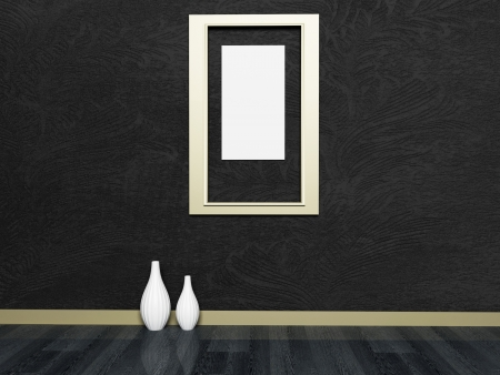 Interior design scene with the vases and a picture photo