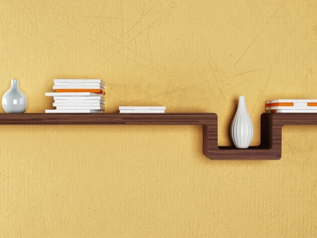 a bookshelf on the wall, rendering
