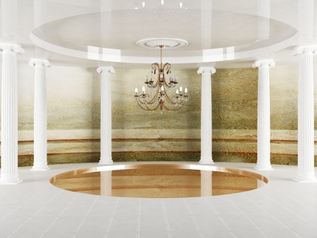 Interior design scene with columns and a chandelier in empty room